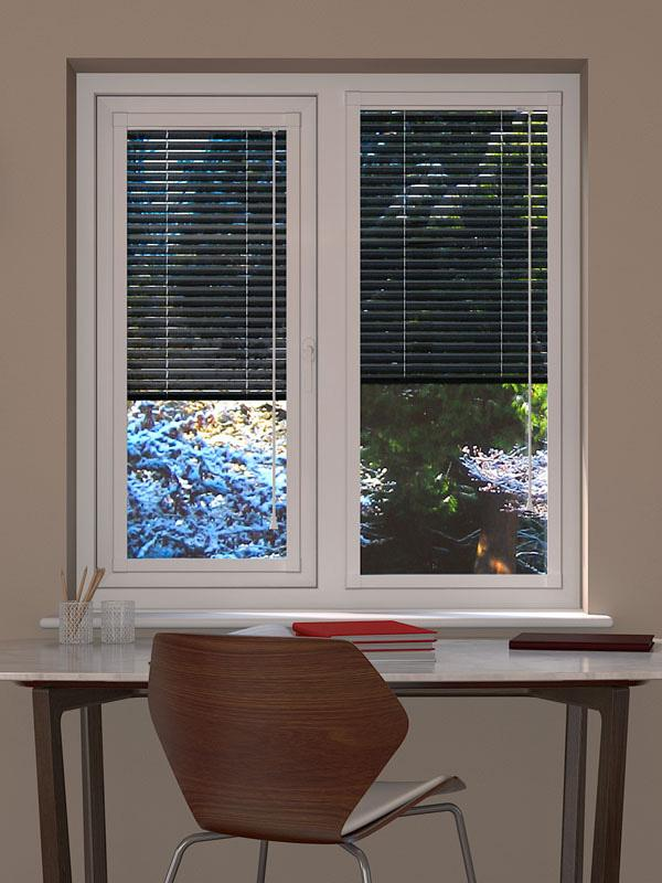 Black Perforated Perfect Fit Venetian Blind